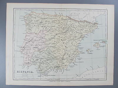Original Color Lithograph Map of Hispania (Spain), London, 1890