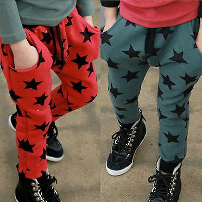 Kids Toddler Boys Girls Stars Leisure Casual Track Harem Pants Trousers Leggings