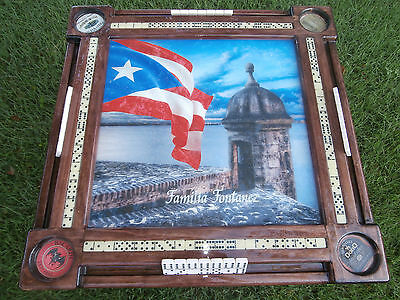 Domino Tables by Art with Puerto Rico Flag and El Morro