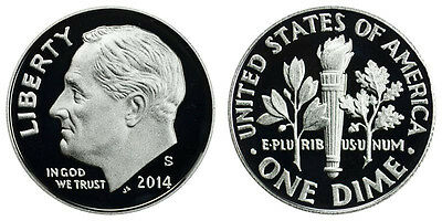 2014 S Proof Roosevelt Dime Clad Gem Deep Cameo Free Shipping