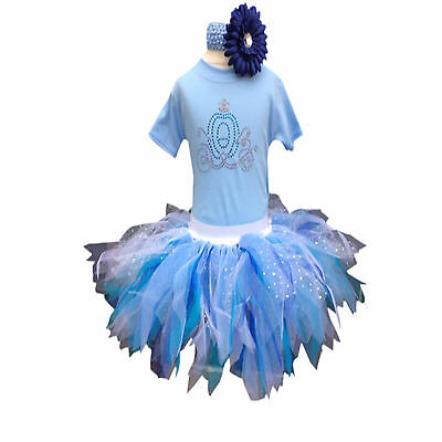 Princess Tutu Baby Toddler Girl Pale Blue Cinderella Sparkle Fancy Dress Costume