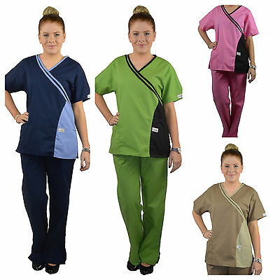 ScrubShine Medical Double Cross Scrubs Set Uniform Nurse Choose Size & Colour