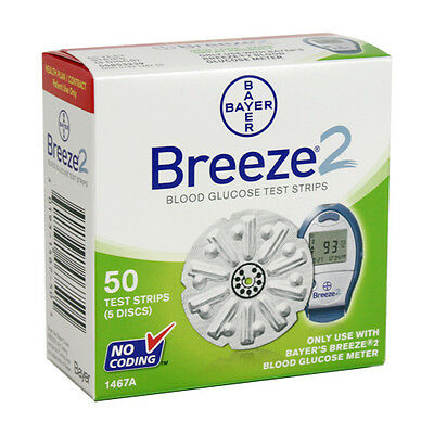 Bayer Breeze 2 Glood Glucose Test Strips, 50 Strips Made In US Exp: 02/28/2019
