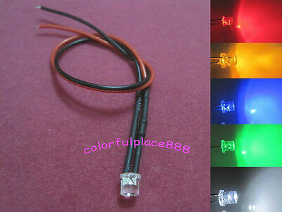 5mm Flat Top 12V 24V DC Pre-Wired Red Yellow Blue Green Warm White LED Leds 20CM