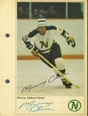 Murray Oliver signed North Stars 1971-72 Toronto Sun NHL Action players photo