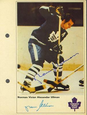 Norm Ullman signed Maple Leafs 1971-72 Toronto Sun NHL Action players photo