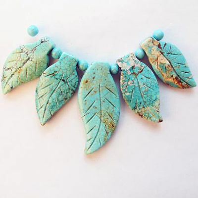 5Pcs Carved Man-made Turquoise Leaf  Pendant Bead Set A0049370