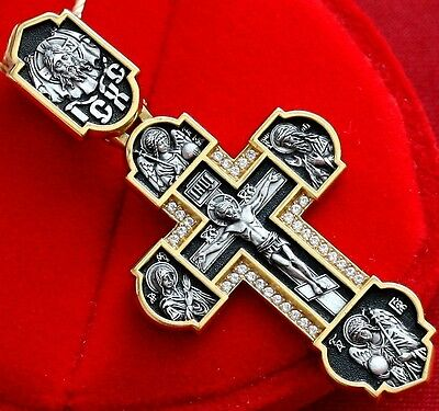 Archangels Big Russian Orthodox Cross, Silver 925+.999 Gold Plating. 24K. New