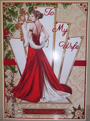 Handmade Art Deco Christmas Card With To My Wife With A Lady In Red Dress Design