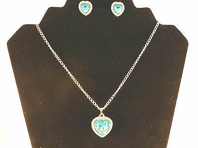 Austrian Crystals 18k White Gold Plated Heart of the Ocean Necklace & Earrings