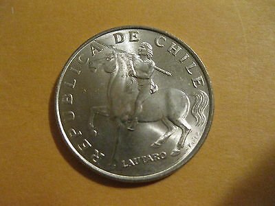 """1972 Chile coin   """"INDIAN ON HORSE""""    uncirculated beauty, very nice coin"""