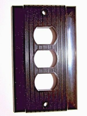 Vintage Uniline Bryant Ribbed Bakelite Brown Despard Triple 3 Switch Cover Deco