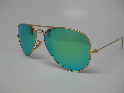 RayBan RB3025 112/P9 Matte Gold, Green Mirror Polarized lens, Size 58, Brand NEW