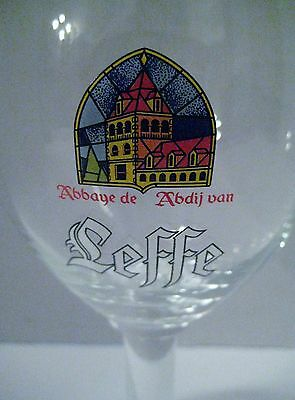 Beer Glass LEFFE Belgium Stemmed With Stained Glass Logo