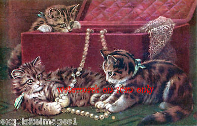 Vintage Art~Kittens Play with Pearls~NEW Lge Note Cards
