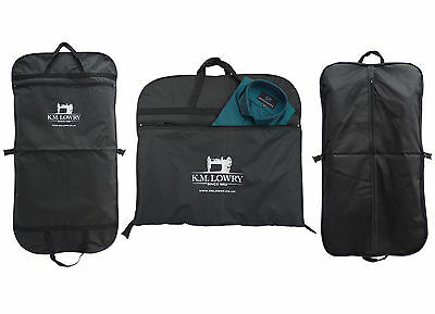 "Black / Navy 44"" Suit Carrier Garment Cover Travel Bag. Strong Nylon. K.M. Lowry"