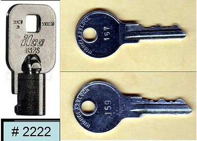 Vendstar 3000 machines Back door (coin) key # 2222 and top lid keys # 157, #159