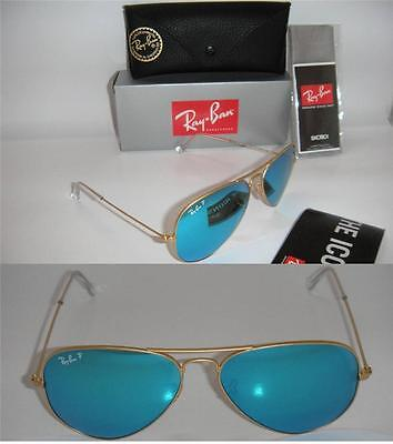 RAY BAN AUTHENTIC AVIATOR RB 3025 112/4L 55MM MATTE GOLD / BLUE MIRROR POLARIZED