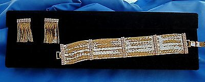 Stunning Liquid Goldtone & Rhinestone Bracelet/earring Set Exquisite!