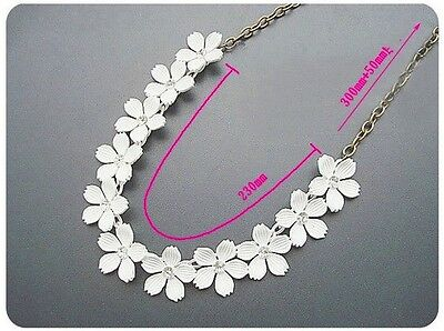 Vintage Flower Crystal Chain Choker Collar Pendant Bib Statement Necklace Party