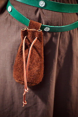 Reenactment-Medieval-SCA-ARCHER-LARP Hang from belt Leather String Keeper Bag