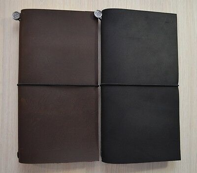 Italian Leather Journal Handmade Blank Notebook Travel Diary Black Brown Regular
