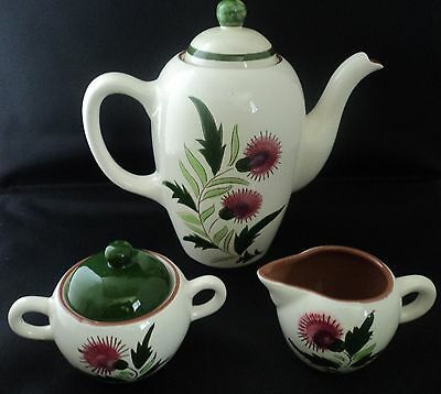 Stangl Pottery 5 Pc Coffee  Pot with Lidded Sugar and Creamer Thistle Pattern