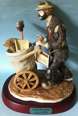 Emmett Kelly After The Parade Figurine Clown Cleaners Flambro Signed