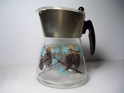 Mid Century Modern Coffee Carafe Douglas Flameproof Turquoise Gold EXCELLENT