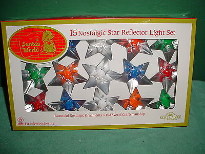 New MIB Kurt Adler 15 Nostalgic Star Reflector Light Set Santa's World Christmas