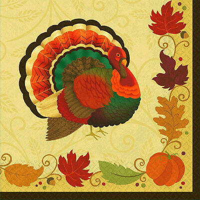 Amscan Thanksgiving Holiday Luncheon Paper Napkins 36/pkg Fall Autumn 712084
