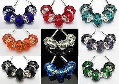 15pcs Silver Core Faceted Crystal Glass Beads Fit Charm Bracelet 12 Colour