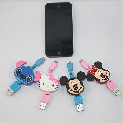 Mickey Minnie Hello Kitty Retractable Data Line Charging Cable for Samsung HTC