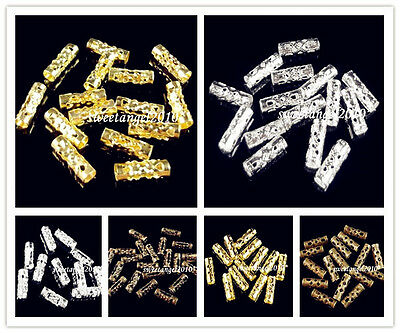 Lots 100/300/1000 Metal charm Hollow Tube Spacer Beads Finding 3Color U choose