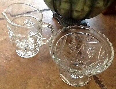 "Vintage Glass Candy Dish, Clear Cut Floral Crystal Bowl 4.5""H x 6"" W   FREE S&H"