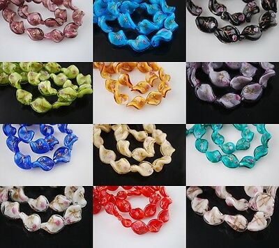 Pretty 10pcs 20mm Flower Glass Crystal Twist Helix Lampwork Beads Spacer Charms