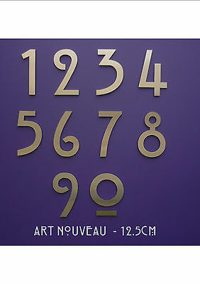 """Art Nouveau - Mackintosh - Stainless Steel House Numbers/Numerals 12.5cm/5"""""""