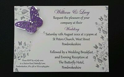 Wedding Invitations With Silver Butterfly Day/Evening  ALL COLOURS