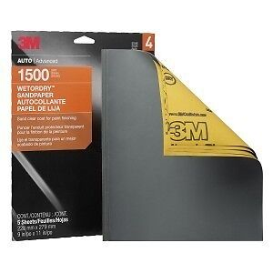3M Sandpaper Wet or Dry Sheets, 1500 grit, 9 x 11 inch, 32023