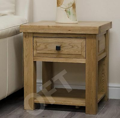 montero side end lamp table with drawer and shelf solid oak furniture