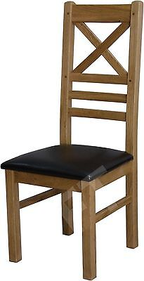 Montero set of four cross back dining chairs solid oak furniture