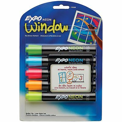 Expo NEON WINDOW Low Odor DRY ERASE 5 BOLD BULLET tip markers 1752226 blacklight