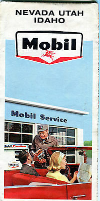 1965 Mobil Nevada/Utah/Idaho Vintage Road Map
