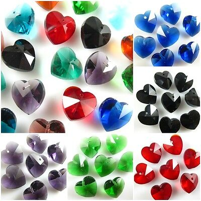 Pretty 14mm Faceted Glass Crystal Heart-Shaped Beads Loose Spacer Craft Jewelry