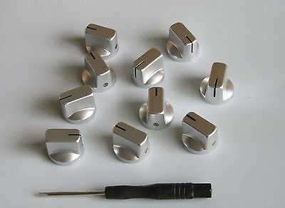 10x Guitar AMP Effect Pedal Knobs Davies 1510 Style Pointer Knob Silver