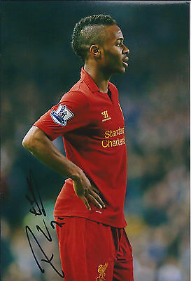Raheem STERLING SIGNED COA Autograph 12x8 Photo AFTAL Liverpool Anfield ENGLAND