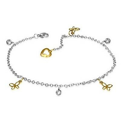Stainless Steel Silver Yellow Gold Two-Tone Butterfly Adjustable Anklet Bracelet