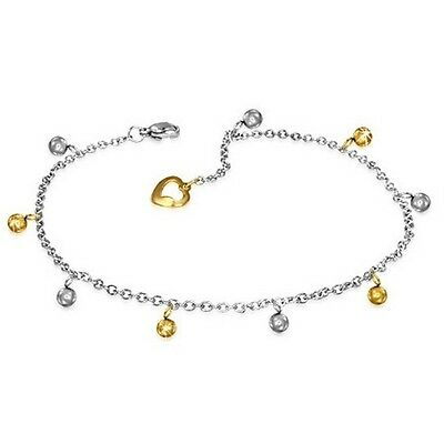 Stainless Steel Silver Yellow Gold Two-Tone Adjustable Anklet Bracelet