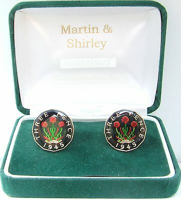 1945 Threepence cufflinks from real coins Black & Gold & Colours