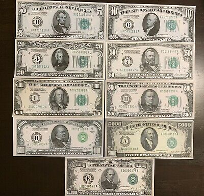 Reproduction Set 1928 Federal Reserve Notes $5,$10,$20,$50,$100,$500,$1000